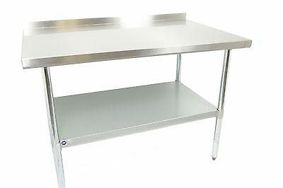"Stainless Steel Work Prep Table 18"" x 24"" NSF Certified with Backsplash"