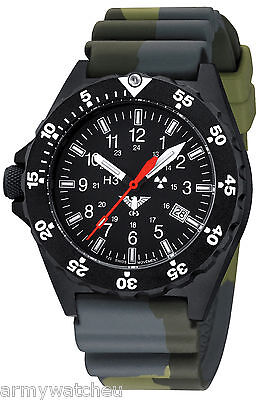 KHS Tactical Watches Black Shooter H3 Date Camouflage Band German Police Watch
