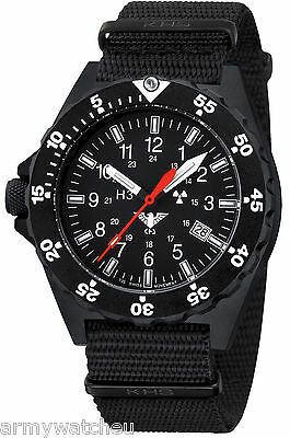KHS Tactical Watches Black Shooter H3 trigalight Date Army Band Black KHS.SH.NB