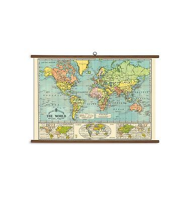 Cavallini Papers World Map Vintage School Chart NO TAX