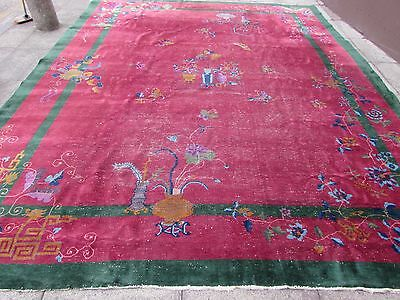 Shabby Chic Antique Hand Made Art Deco Chinese Oriental Carpet Red Wool 398x320