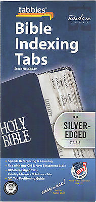 BIBLE INDEXING TABS Old & New Testaments SILVER EDGE Tabbies 58339
