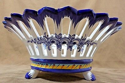 Vestal Hand Painted Footed Decorative Bowl Alcobaca Portugal Blue & White