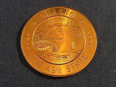 Vintage 1959 Alaska The 49th State Coin Souvenir $1.00 Trade Token NICE COND.