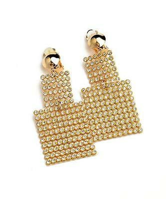 NEW..Elegant clip on gold or silver rhinestone bling glam drop dangle earrings