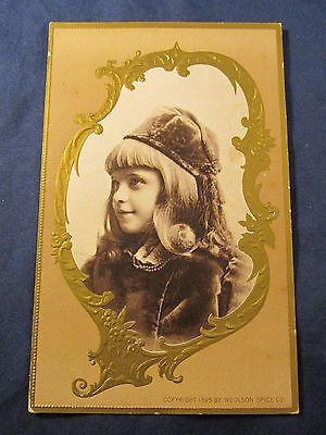 1896 RARE VARIATION Antique Woolson Spice Co. Lion Coffee Trade Card LITTLE GIRL