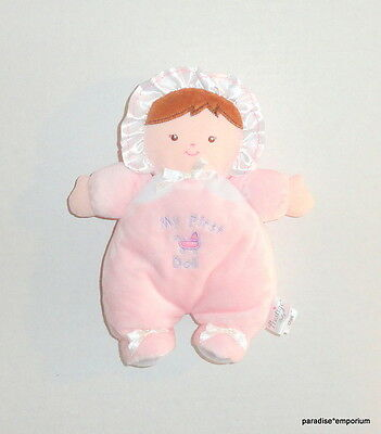 Prestige Baby Plush My First Doll Pink White Brunette Brown Hair Soft Toy P71