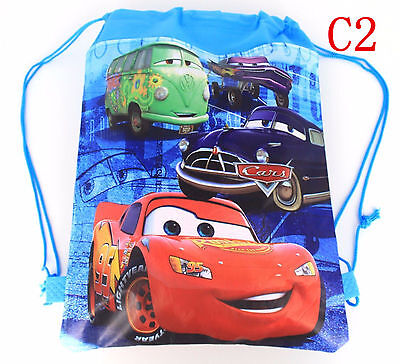 Cute Disney Cars McQueen Cartoon Drawstring Backpack Kids School Bag C2#