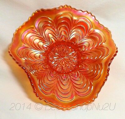 "Fenton Peacock Tail Marigold Orange Carnival Glass 6"" Plate Tri-Corner Whimsied"