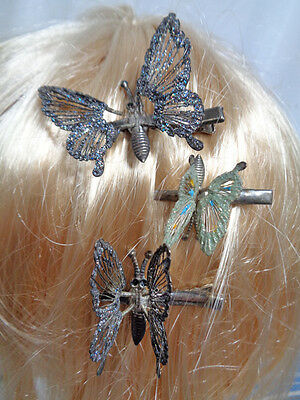 50a 60s VINTAGE HAIR ORNAMENTS - SPARKLY & TWINKLY BUTTERFLY TREMBLER CLIPS