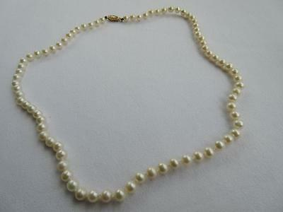 "Vintage 14k Gold Akoya Pearl Necklace 17 1/2"" 5mm 16 Grams"