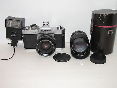KONICA AUTOREFLEX A3 35mm FILM CAMERA WITH 2 LENS AND FLASH