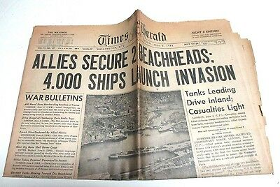Times Herald Washington D C June 6, 1944, 4000 Ships Launch Invasion, D-Day