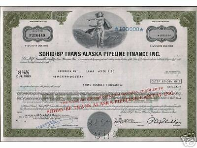 RARE $50,000 STANDARD OIL/BP ALASKA PIPELINE BOND! 25k=$19.95 $100k=$50 200k=$75
