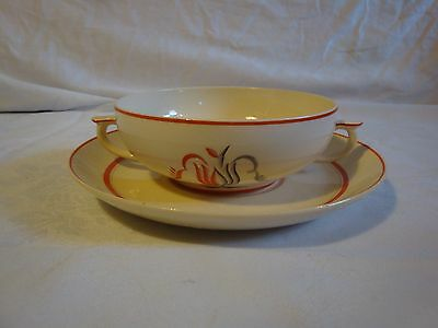Arabia Finland Oiva Red Stripe Tulips Handled Cream Soup bowls 1930-1940s