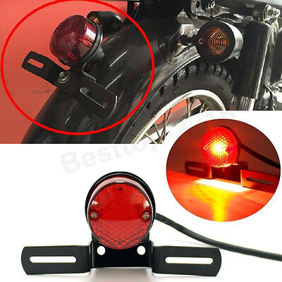 12V Motorcycle License Plate LED Brake Tail Light For Bobber Cafe Racer Chopper