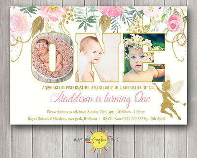 Custom Printable Girls Birthday Photo Words Invitation 1st Any Age Floral Fairy