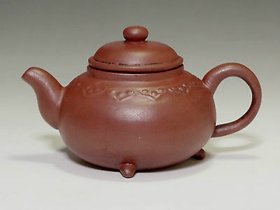 Vintage Chinese Reddish Brown Zisha Pottery Teapot Signed for Kung fu Tea #505
