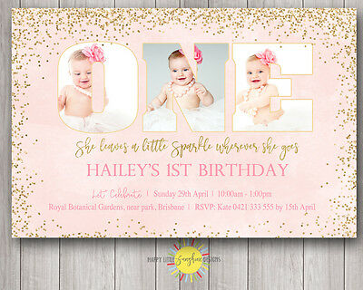 Custom Printable Girls Birthday Photo Words Invitation 1st She leaves a sparkle