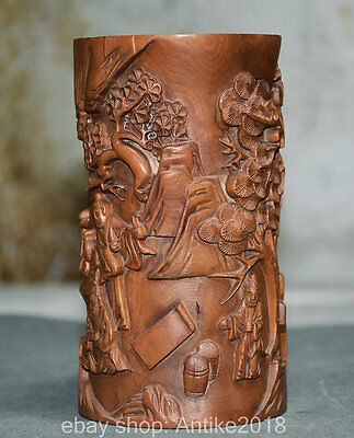 "5.6"" Chinese Carved Boxwood  Old Man Women Kid Life Pine Brush Pot Pencil Vase"