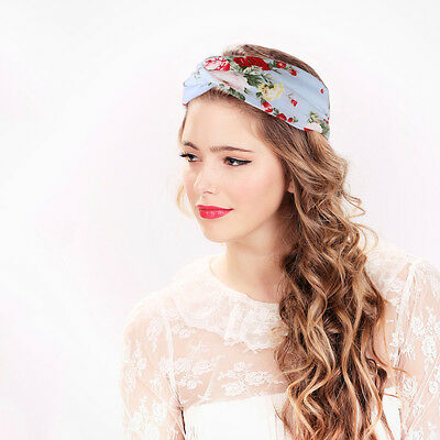 4pcs Elastic Turban Head Wrap Headband Fashion Rose Flower Twisted Hair Band