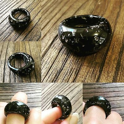 Faceted Resin Ring, Black & Silver Foil Resin Dome Ring Size 8 3/4 US R 1/2 AU