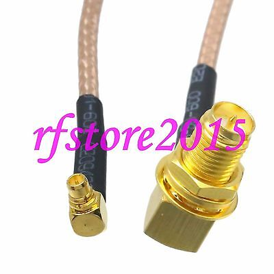 Cable RG316 6inch MMCX male plug 90° to RP-SMA female bulkhead 90° RF pigtail