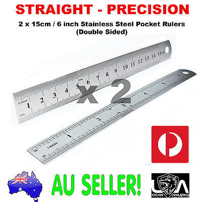 2 x 15cm Stainless Steel Pocket Measuring Ruler Scale Rule 2 Sided Metric 6inch