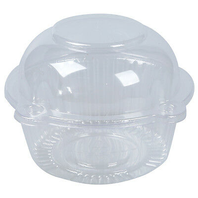 50 x Single Plastic Clear Cupcake Holder / Cake Container DU PK