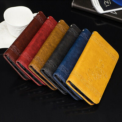 Luxury Leather + TPU Wallet Case Card Slots Flip Stand Cover For Various Phone