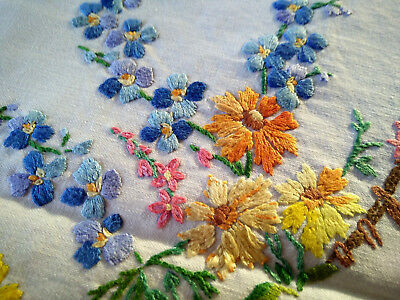 Charming Vintage Hand Embroidered English Meadow Flowers /Fence Tablecloth