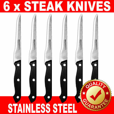 6 x STEAK KNIVES POINTED STAINLESS STEEL SERRATED BLADE BRAND NEW BLACK HANDLE