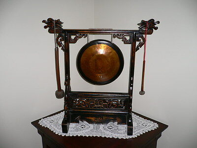 Antique Chinese Gong with Dragon Stand