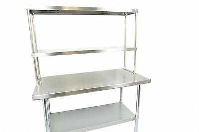 "Stainless Steel Work Prep Table 24"" x 48"" with Double Overshelf"