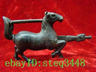 Rare Chinese old style Brass Carved Lifelike Horse padlock lock and key NAA030
