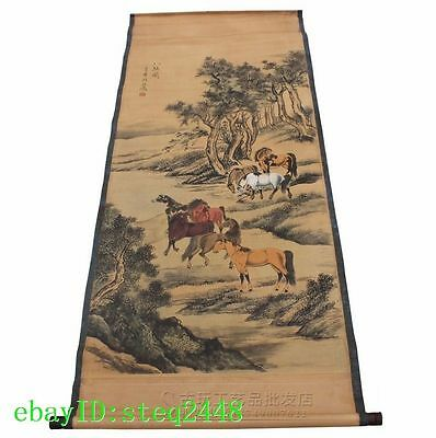 China old Antique calligraphy painting the living room Eight Horses