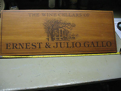 Wine Cellars Of Ernest & Julio Gallo Wooden Plaque Vintage Original 22 X 8''nice