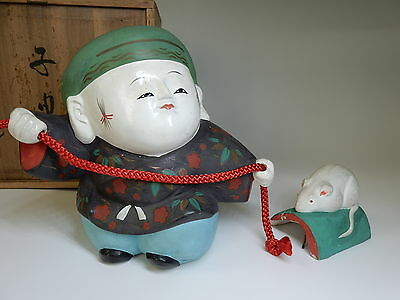 RARE Antique JAPANESE  Traditional Gofun Kyoto Gosho Doll with His Pet Lovely