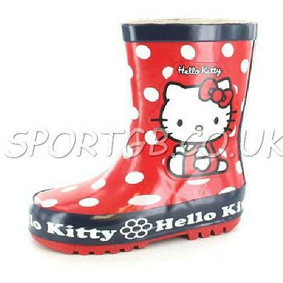 Childrens Hello Kitty Wellies - Kids Boys Girls Character Wellys Red Spotty
