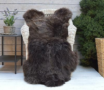 Luxury Sheepskin Rug, Throw, Blanket, Rare Breed BROWN FLAMES - XXXL