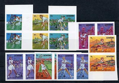 Lesotho 1988 75th Anniv Tennis Plate Proof pairs SG843/51 (exc 1m)