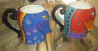 *Set of 2* Laurel Burch AQUATIC MARE HORSE Ceramic Mugs 4.5 Inches Tall 16 Oz