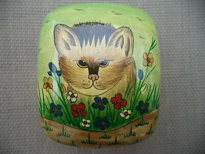 Vintage Kashmir India Black Lacquer Trinket Box Cat with Flowers