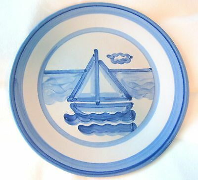 """M A HADLEY SAILBOAT Nautical 11"""" Hand Painted DINNER PLATE Blue & White"""