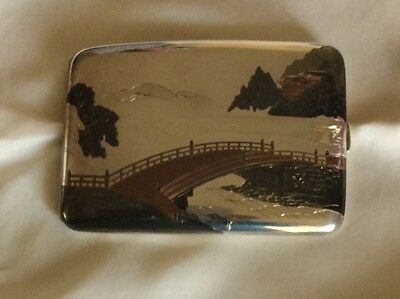 Antique Japanese Sterling Silver 950 Cigarette Case ,bridge at Nikko, signed