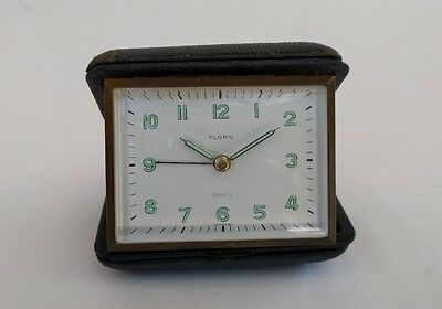 Vintage Luminous Travel Alarm Clock - The Florn Comp Germany - U.S. Zone - Jewel