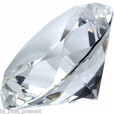 STUNNING BRAND NEW 60mm CLEAR CRYSTAL DIAMOND PAPER WEIGHT NUMEROUS FACETS