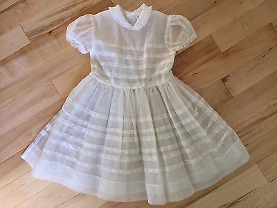 VINTAGE GIRLS DRESS 50's/60's CINDERELLA BRAND SIZE 7 SHEER NYLON EASTER PARTY