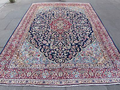 Old Traditional Hand Made Persian Rug Oriental Blue Wool Carpet Rug 316x234cm