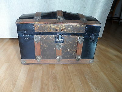 Antique Wooden Victorian Steamer Trunk, Camel Back Dome Top Brides Wedding Chest